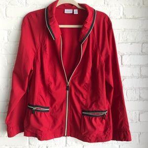 Chico's zenergy red & black size 2 wind jacket